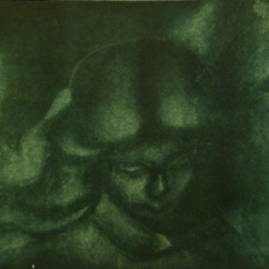 Stone angel, mezzotint etching (detail)