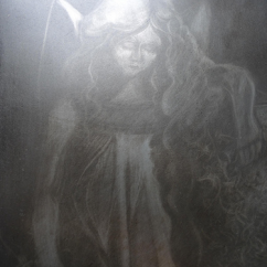 Stone angel, aquatint etching