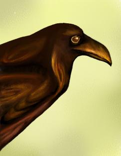 Wooden raven from Below