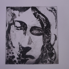 Stone angel, sugarlift etching