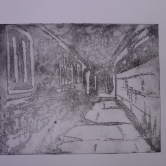 Hall, sugarlift etching
